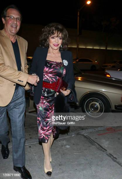 Joan Collins is seen on February 29 2020 in Los Angeles California