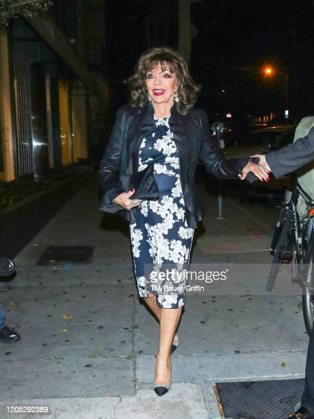 Joan Collins is seen on March 04 2020 in Los Angeles California