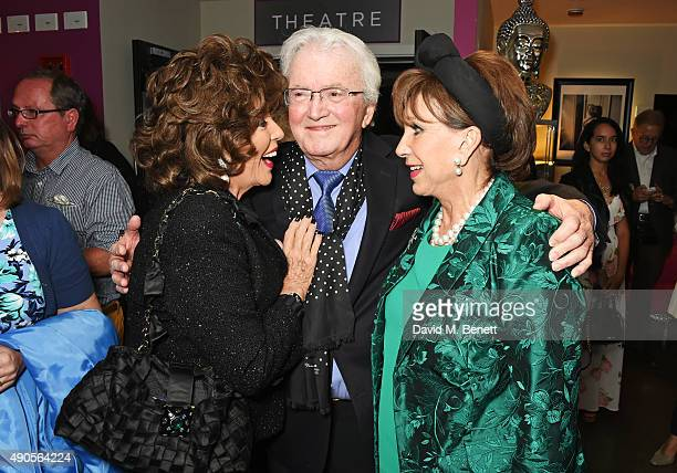 Joan Collins Leslie Bricusse and Yvonne Romain attend the press night of Pure Imagination The Songs of Leslie Bricusse at the St James Theatre on...
