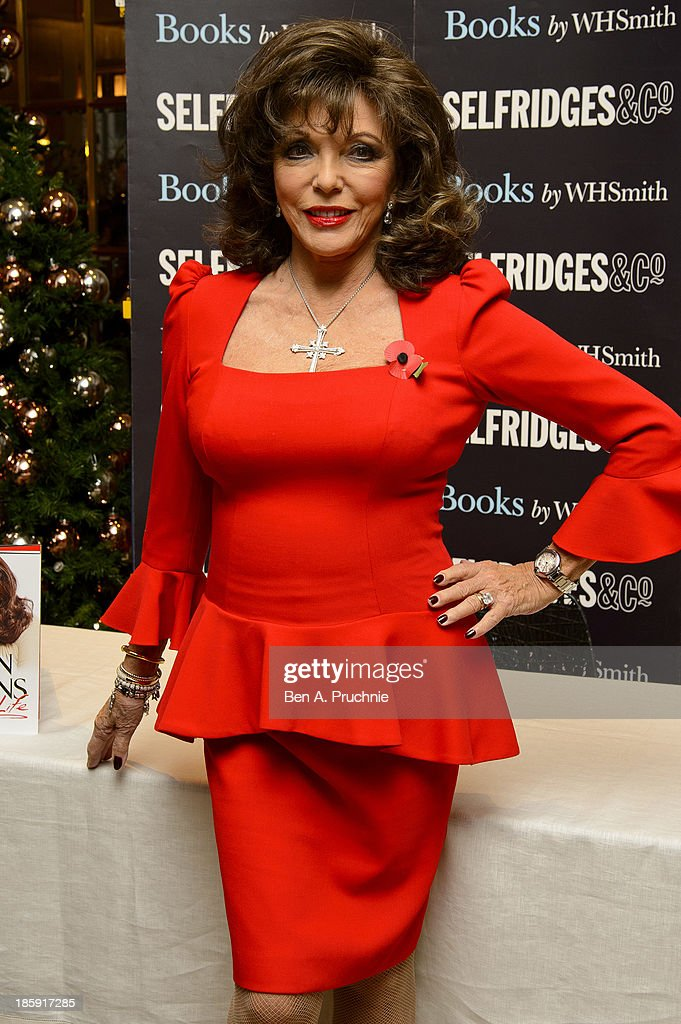 Joan Collins meets fans and signs copies of her book 'Passion For Life' at Selfridges on October 26, 2013 in London, England.