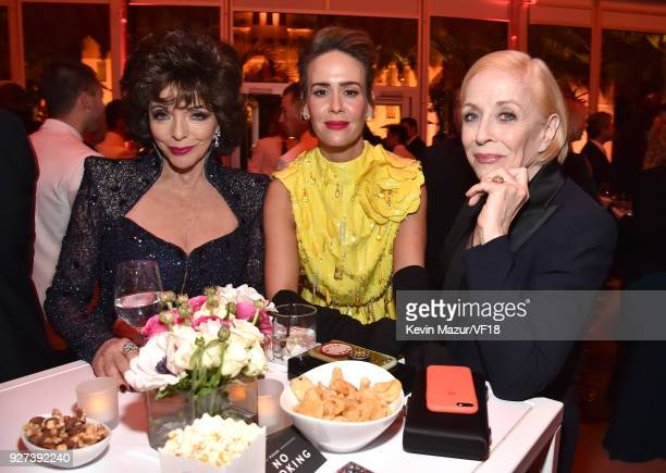 Joan Collins Sarah Paulson and Holland Taylor attend the 2018 Vanity Fair Oscar Party hosted by Radhika Jones at Wallis Annenberg Center for the...