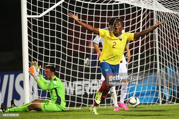 Joan Cortez of Ecuador celebrates after scoring a goal during the FIFA U17 Men's World Cup Chile 2015 group D match between Honduras and Ecuador at...