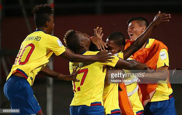 Joan Cortez of Ecuador celebrates with teammates after scoring a goal during the FIFA U17 Men's World Cup Chile 2015 group D match between Honduras...
