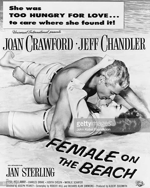 Joan Crawford and Jeff Chandler explore their passions in 'Female on the Beach', a steamy thriller directed by Joseph Pevney and co-starring Jan...