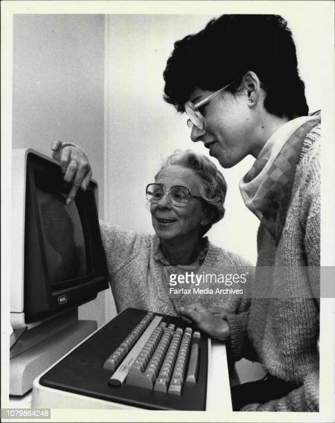 Joan Ericson a tutor with Word Processing Made Easy a word processing training school in Parramatta She is pictured with a student September 11 1984