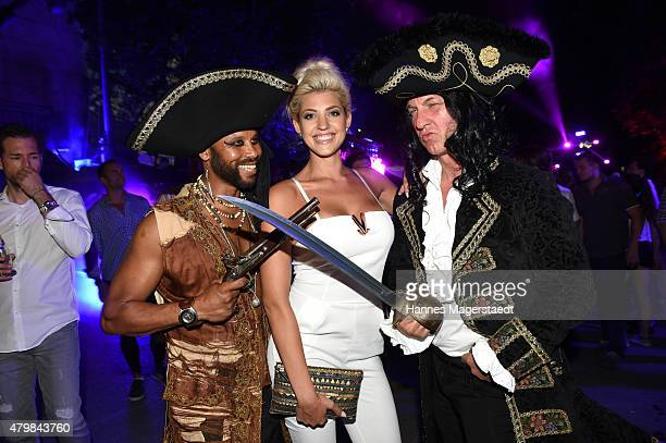 Joan Fevre Playboy Playmate Sarah Nowak and Oliver Loewit attend the P1 summer party at P1 on July 7 2015 in Munich Germany