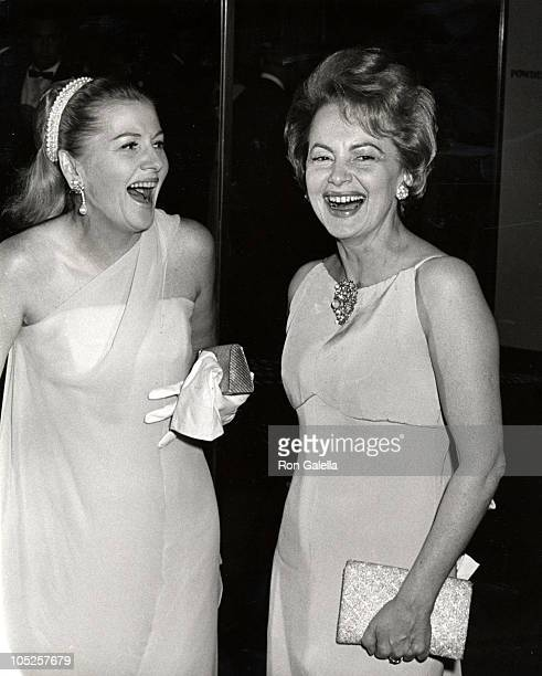 Joan Fontaine and sister Olivia de Havilland during Marlene Dietrich's Opening Party September 9 1967 at Rainbow Room in New York City NY United...