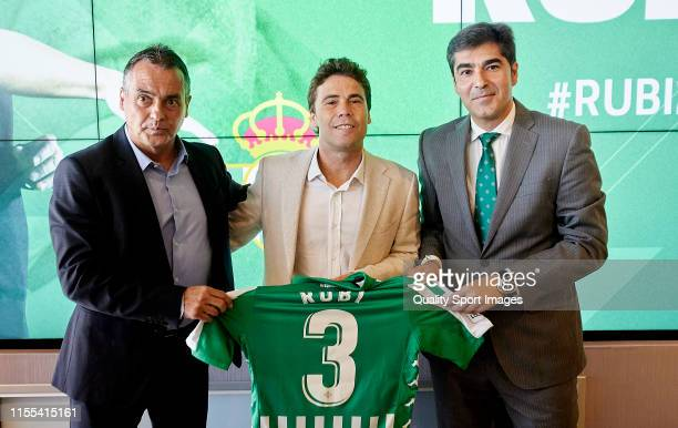 Joan Francesc Ferrer Rubi, President of Real Betis Angel Haro and Alexis Trujillo adresses the media after being anounced as new Real Betis head...