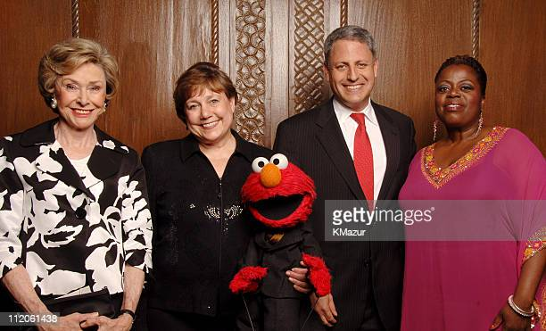 Joan Ganz Cooney, Sesame Workshop founder and event co-chair, Ann M. Veneman, executive director, UNICEF, Elmo and Gary Knell, president, chief...