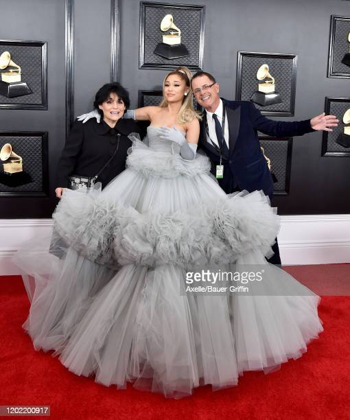 Joan Grande Ariana Grande and Edward Butera attend the 62nd Annual GRAMMY Awards at Staples Center on January 26 2020 in Los Angeles California