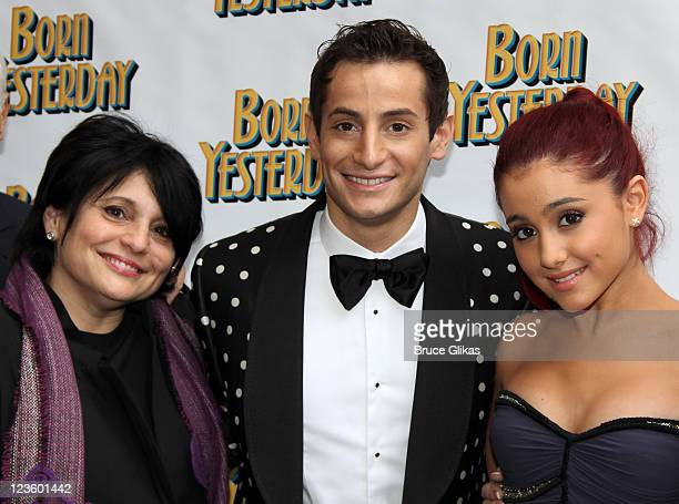 Joan Grande Producer Frankie James Grande and sister Ariana Grande pose at The Opening Night of 'Born Yesterday' on Broadway at The Cort Theatre on...