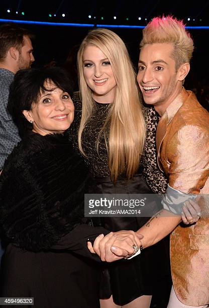 Joan Grande singer Meghan Trainor and TV personality Frankie J Grande attend the 2014 American Music Awards at Nokia Theatre LA Live on November 23...