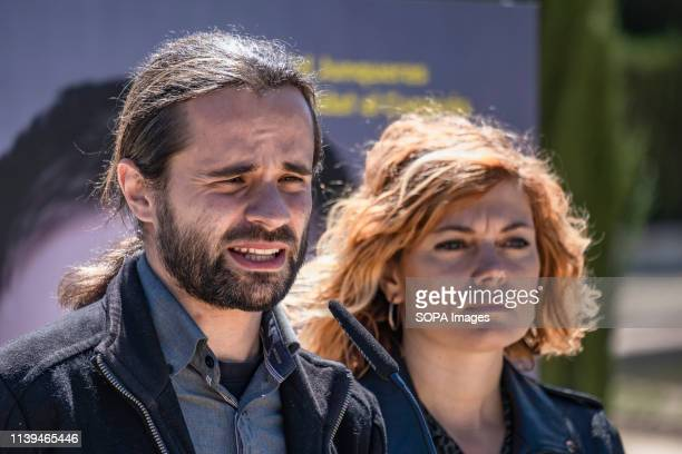 Joan Ignasi Elena, legal spokesperson of ERC accompanied by Elisenda Alemany seen speaking during the electoral campaign. The political formation...