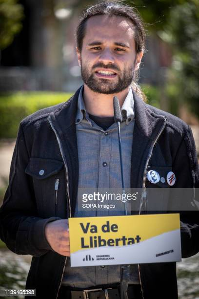 Joan Ignasi Elena, legal spokesperson of ERC seen speaking during the electoral campaign. The political formation Esquerra Republicana reaffirms its...