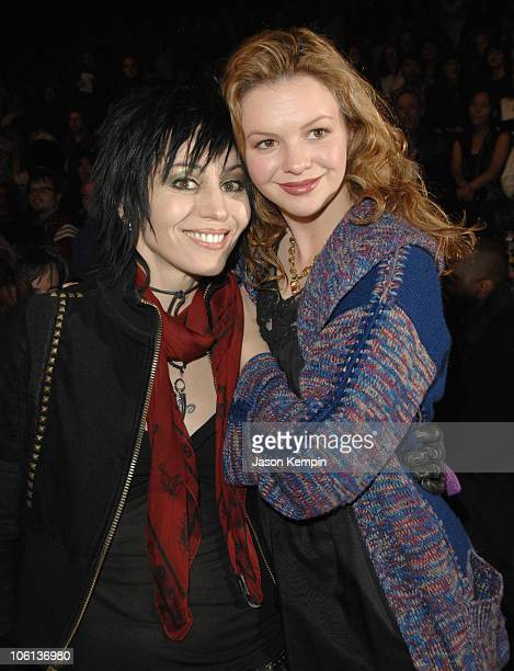 Joan Jett and Amber Tamblyn during Mercedes Benz Fashion Week Fall 2007 Anna Sui Front Row and Backstage at The Tent Bryant Park in New York City New...