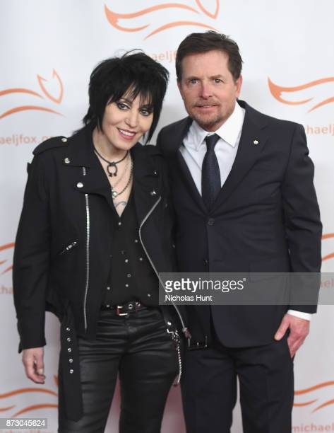 Joan Jett and Michael J Fox on the red carpet of A Funny Thing Happened On The Way To Cure Parkinson's benefitting The Michael J Fox Foundation at...