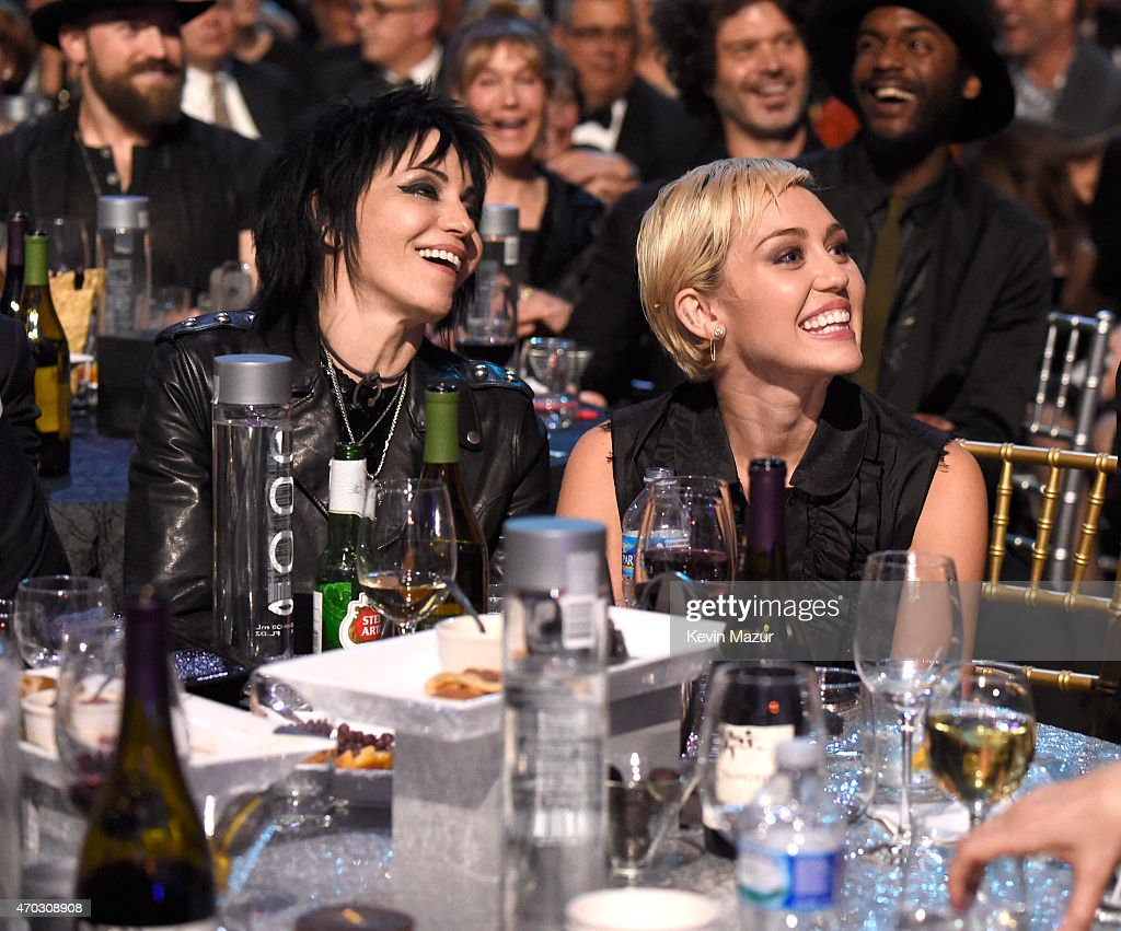 Joan Jett and Miley Cyrus attend the 30th Annual Rock And Roll Hall Of Fame Induction Ceremony at Public Hall on April 18, 2015 in Cleveland, Ohio.