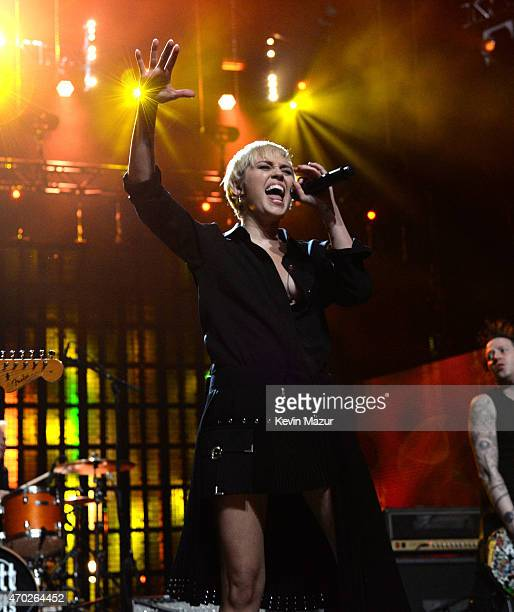 Joan Jett and Miley Cyrus perform onstage during the 30th Annual Rock And Roll Hall Of Fame Induction Ceremony at Public Hall on April 18 2015 in...