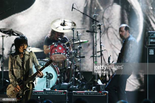 Joan Jett Dave Grohl and Krist Novoselic perform onstage at the 29th Annual Rock And Roll Hall Of Fame Induction Ceremony at Barclays Center of...