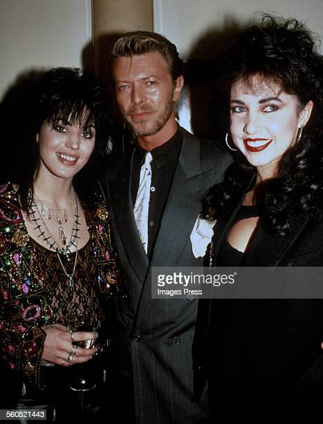Joan Jett, David Bowie and Melissa Hurley backstage when Joan Jett & the Blackhearts perform on Broadway circa 1989 in New York City.