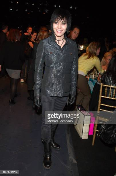 Joan Jett during Mercedes Benz Fashion Week Fall 2007 Betsey Johnson Front Row and Backstage at The Tent Bryant Park in New York City New York United...