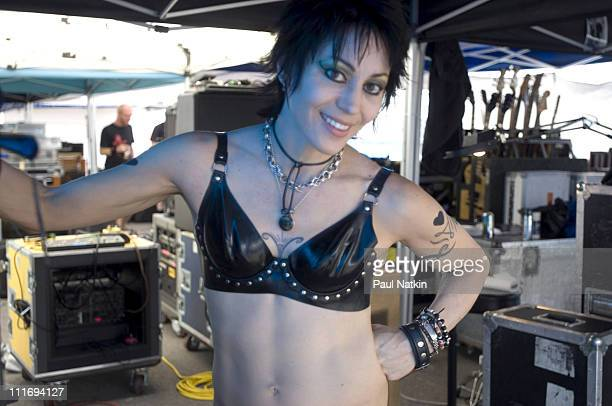 Joan Jett during Vans Warped Tour at First Midwest Bank Amphitheater July 30 2006 at First Midwest Bank Amphitheater in Tinley Park Illinois United...