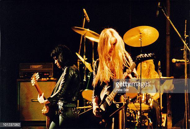 Joan Jett Lita Ford and Sandy West of The Runaways perform on stage at Hammersmith Odeon on November 13th 1977 in London England