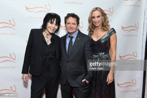 Joan Jett Michael J Fox and Tracy Pollan attend A Funny Thing Happened On The Way To Cure Parkinson's benefitting The Michael J Fox Foundation on...