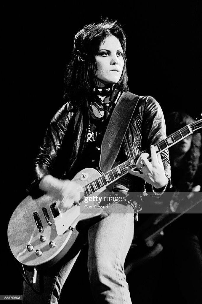 Joan Jett of The Runaways performs on stage at the Roundhouse, Camden in November 1977 in London.