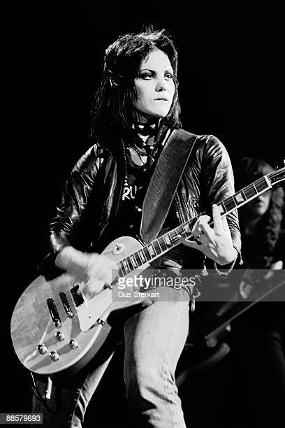 Joan Jett of The Runaways performs on stage at the Roundhouse Camden in November 1977 in London