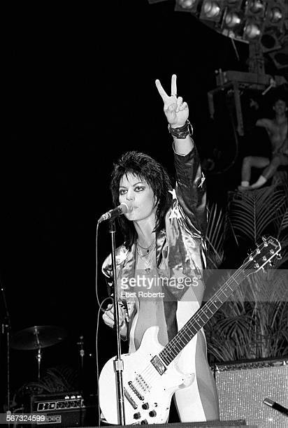 Joan Jett performing at the Beach Boys 4th of July Extravaganza in Philadelphia Pennsylvania on July 4 1985
