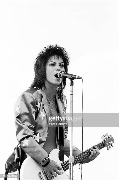Joan Jett performing at the Beach Boys 4th of July Extravaganza in Philadelphia, Pennsylvania on July 4, 1985.