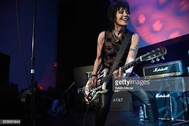 """Joan Jett performs during the """"Geezer"""" World Premiere during the 2016 Tribeca Film Festival at Festival Hub on April 23, 2016 in New York City."""