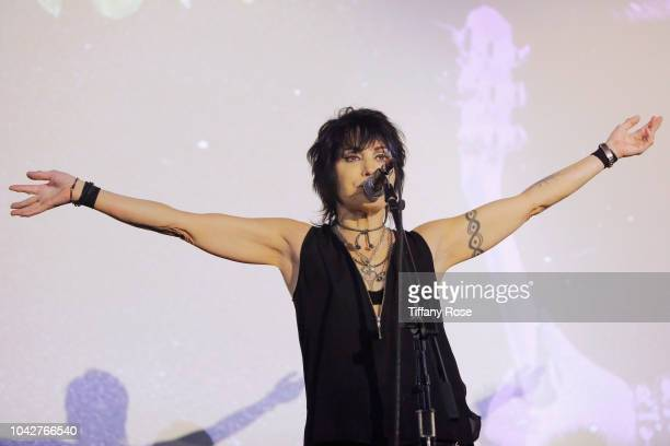 Joan Jett performs onstage at Bad Reputation Opening Night at Nuart Theatre on September 28, 2018 in West Los Angeles, California.