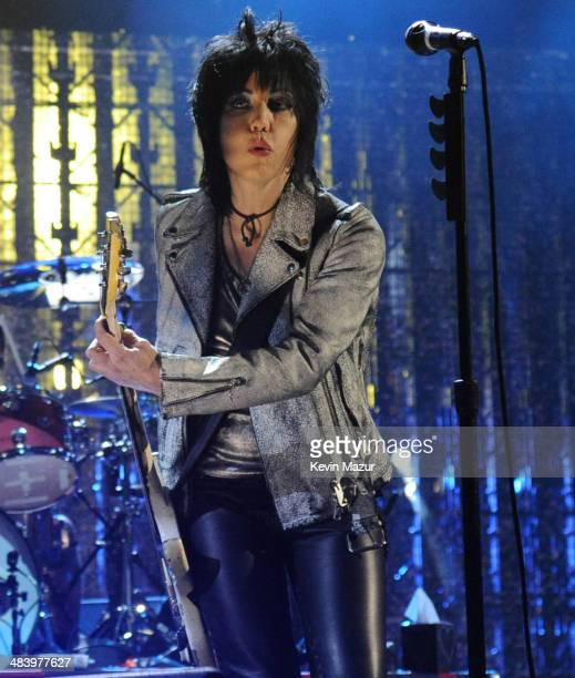 Joan Jett performs with Pat Smear, Dave Grohl and Krist Novoselic onstage at the 29th Annual Rock And Roll Hall Of Fame Induction Ceremony at...