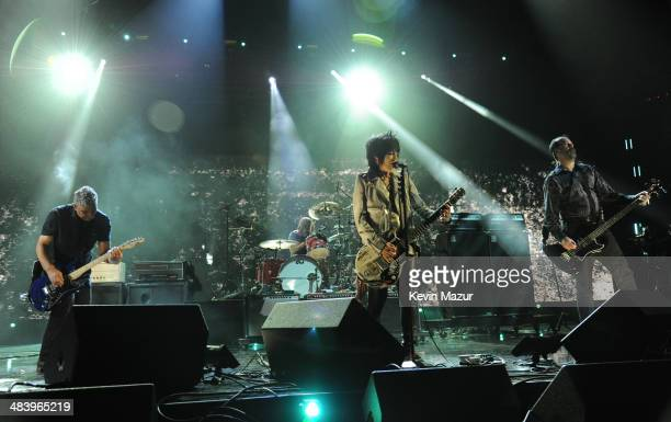 Joan Jett performs with Pat Smear, Dave Grohl and Krist Novoselic of Nirvana onstage at the 29th Annual Rock And Roll Hall Of Fame Induction Ceremony...