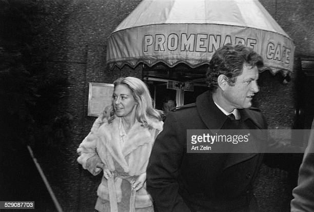 Joan Kennedy and Ted Kennedy in front of Promenant cafe circa 1960 New York
