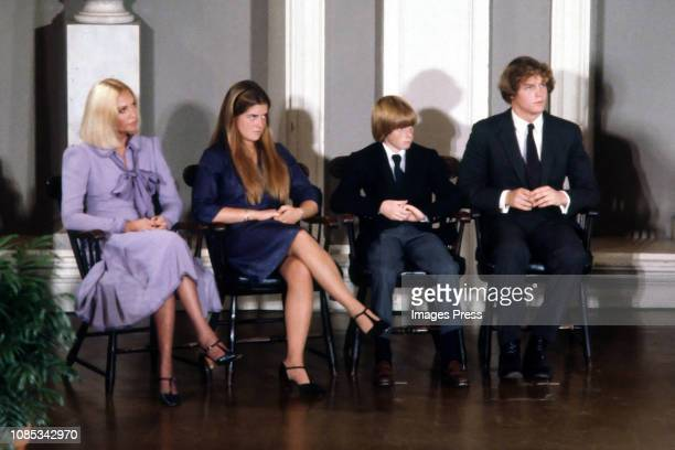 Joan Kennedy Edward M Kennedy Jr Patrick J Kennedy Kara Kennedy during Ted Kennedy Announces His Candidacy For President at Faneuil Hall in Boston...