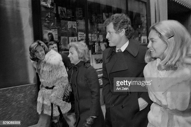 Joan Kennedy Ted Kennedy Ethel Kennedy and friend walking on the street; circa 1960; New York.