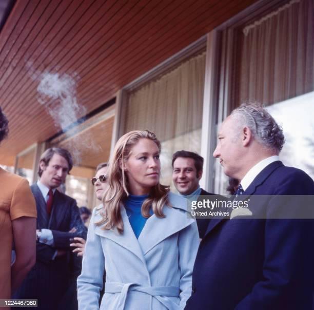 Joan Kennedy wife of American senator Edward Ted Kennedy talking to German state secretary Walter Scheel while visiting Bonn Germany 1971