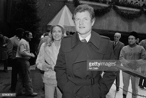 Joan Kennedy with Ted Kennedy at Rockefeller Center skating rink circa 1970 New York