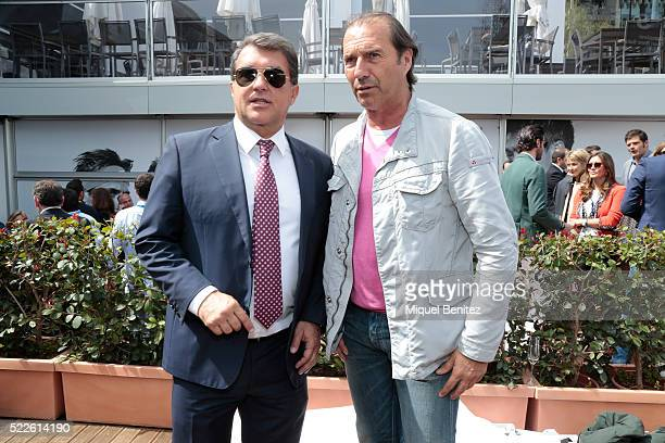 Joan Laporta and Jesus Angoy attend the Barcelona Open Banc Sabadell 64th Conde de Godo Trophy at Real Club de Tenis Barcelona on April 20 2016 in...