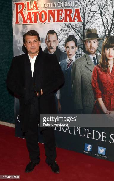 Joan Laporta attends a photocall for the theater premiere of 'La Ratonera' at the theater Apolo on March 5 2014 in Barcelona Spain