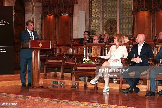 Joan Laporta Danny CruyffCoster and Jordi Cruyff attend the Golden Medal of Merit for Johan Cruyff Event at the Salo de Cent in the Barcelona's town...