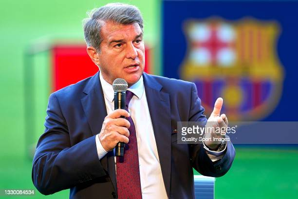 Joan Laporta, president of FC Barcelona attends the media during the Memphis Depay unveiling press conference at Camp Nou on July 22, 2021 in...