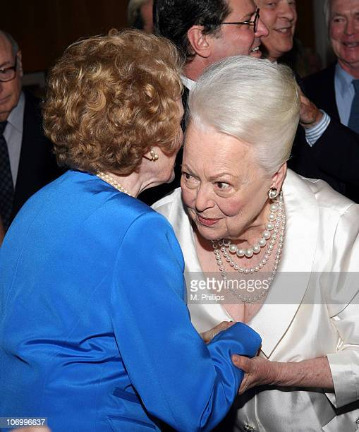Joan Leslie and Olivia de Havilland during Academy of Motion Picture Arts and Science Presents Tribute to Olivia de Havilland at Academy of Motion...