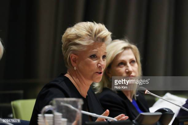 Joan Lunden and Edie Falco attend International Women's Day The Role of Media To Empower Women Panel Discussion at the United Nations on March 8 2018...
