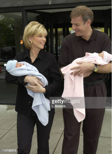 Joan Lunden and husband Jeff Konigsberg leave Good Samaritin Hospital with their new born twins Kate Elizabeth and Max Aaron