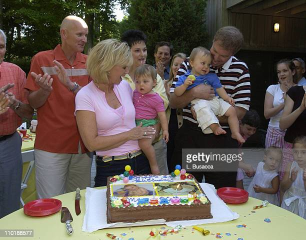 Joan Lunden and Jeff Konigsberg Hold the Twins Kate and Max Konigsberg with Pete Bolig and Deborah Bolig the Twins Surrogate Mother Looking on During...