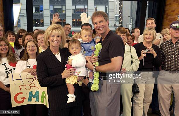 Joan Lunden and Jeff Konigsberg with their children Kate and Max Konigsberg on the Good Morning America set